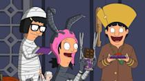 """<p>No one can resist the call of premium candy, least of all the Belcher kids, as the trio travel to the nearby """"rich neighborhood"""" of King's Island for their trick-or-treating in the season 3 episode """"Full Bars."""" The full-sized chocolate bars may not be worth it, though, as Tina, Louise, and Gene quickly find themselves being pursued by rowdy teenagers. Meanwhile, Bob gets wrangled into going to Teddy's Halloween party, where an evening of fun soon turns into a murder mystery. </p><p><a class=""""link rapid-noclick-resp"""" href=""""https://go.redirectingat.com?id=74968X1596630&url=https%3A%2F%2Fwww.hulu.com%2Fseries%2Fbobs-burgers-fdeb1018-4472-442f-ba94-fb087cdea069&sref=https%3A%2F%2Fwww.redbookmag.com%2Fabout%2Fg34171638%2Fbest-halloween-tv-shows-episodes%2F"""" rel=""""nofollow noopener"""" target=""""_blank"""" data-ylk=""""slk:Watch now"""">Watch now</a></p>"""
