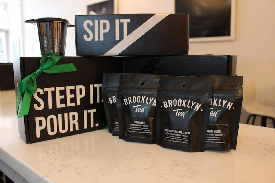 """<p><strong>Brooklyn tea</strong></p><p>brooklyntea.com</p><p><strong>$35.00</strong></p><p><a href=""""https://brooklyntea.com/collections/tea-box/products/holiday-gift-box"""" rel=""""nofollow noopener"""" target=""""_blank"""" data-ylk=""""slk:Shop Now"""" class=""""link rapid-noclick-resp"""">Shop Now</a></p><p>Choose from oolong, green, and black teas to hook up your friend who's always sleepy. </p>"""