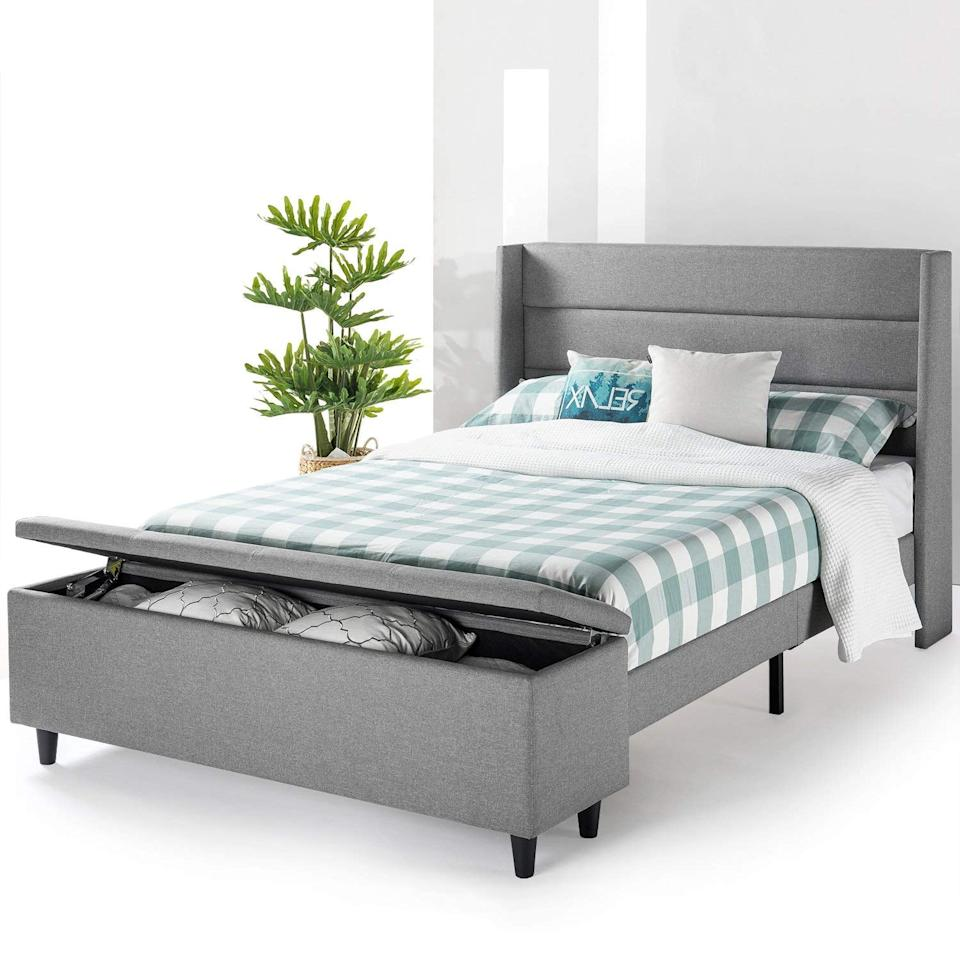 """<p>The storage bench on this <a href=""""https://www.popsugar.com/buy/Mellow-Modern-Upholstered-Platform-Bed-487852?p_name=Mellow%20Modern%20Upholstered%20Platform%20Bed&retailer=amazon.com&pid=487852&price=390&evar1=casa%3Aus&evar9=46580615&evar98=https%3A%2F%2Fwww.popsugar.com%2Fhome%2Fphoto-gallery%2F46580615%2Fimage%2F46581146%2FMellow-Modern-Upholstered-Platform-Bed&list1=shopping%2Corganization%2Cbedrooms%2Chome%20organization%2Chome%20shopping&prop13=api&pdata=1"""" rel=""""nofollow"""" data-shoppable-link=""""1"""" target=""""_blank"""" class=""""ga-track"""" data-ga-category=""""Related"""" data-ga-label=""""https://www.amazon.com/Price-Mattress-Modern-Upholstered-Platform/dp/B07FMBPQ21/ref=sr_1_26?keywords=bed+with+storage&amp;qid=1567708666&amp;s=gateway&amp;sr=8-26"""" data-ga-action=""""In-Line Links"""">Mellow Modern Upholstered Platform Bed</a> ($390) is so cool. </p>"""