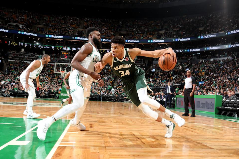 BOSTON, MA - MAY 3: Giannis Antetokounmpo #34 of the Milwaukee Bucks drives to the basket against the Boston Celtics  during Game Three of the Eastern Conference Semi Finals of the 2019 NBA Playoffs on May 3, 2019 at the TD Garden in Boston, Massachusetts.  NOTE TO USER: User expressly acknowledges and agrees that, by downloading and or using this photograph, User is consenting to the terms and conditions of the Getty Images License Agreement. Mandatory Copyright Notice: Copyright 2019 NBAE  (Photo by Nathaniel S. Butler/NBAE via Getty Images)