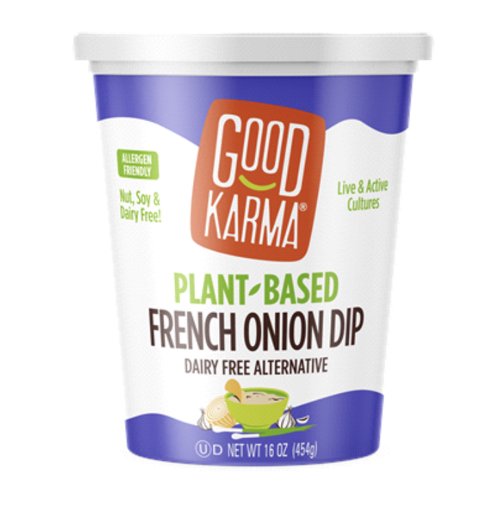 <p>It's a good thing that companies are making products for all types of diets, and Good Karma's French Onion Dip seems like a nice option for vegans and others who want to take their chips for a cows' milk-free dunk. </p><p>But don't let the fact that it's plant-based—in this case, from coconut oil, tapioca flour, corn starch and a whole heck of a lot of other ingredients—convince you to eat it by the tubful.</p>