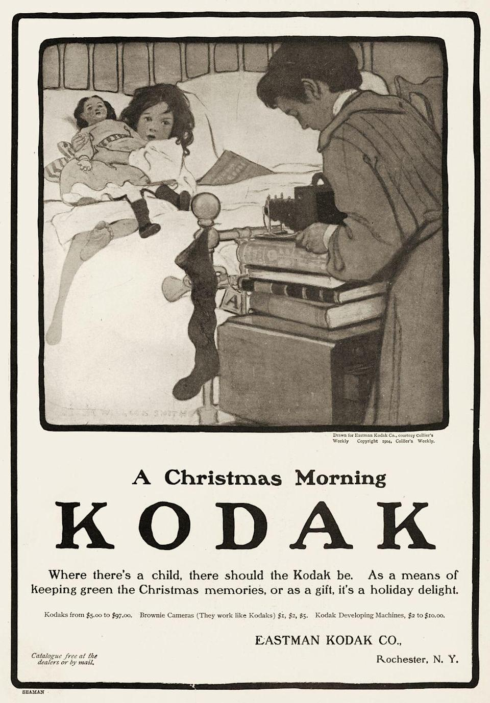<p>Long before phones captured the perfect snapshot for social media, Kodak was a leading manufacturer of residential-grade cameras. Here, a mother is seen capturing a photo of her daughter on Christmas morning. </p>