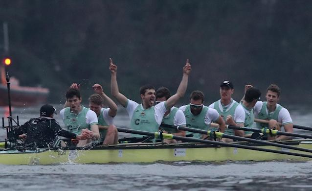 Rowing - 2018 Oxford University vs Cambridge University Boat Race - London, Britain - March 24, 2018 Cambridge celebrate winning the men's boat race REUTERS/Peter Cziborra