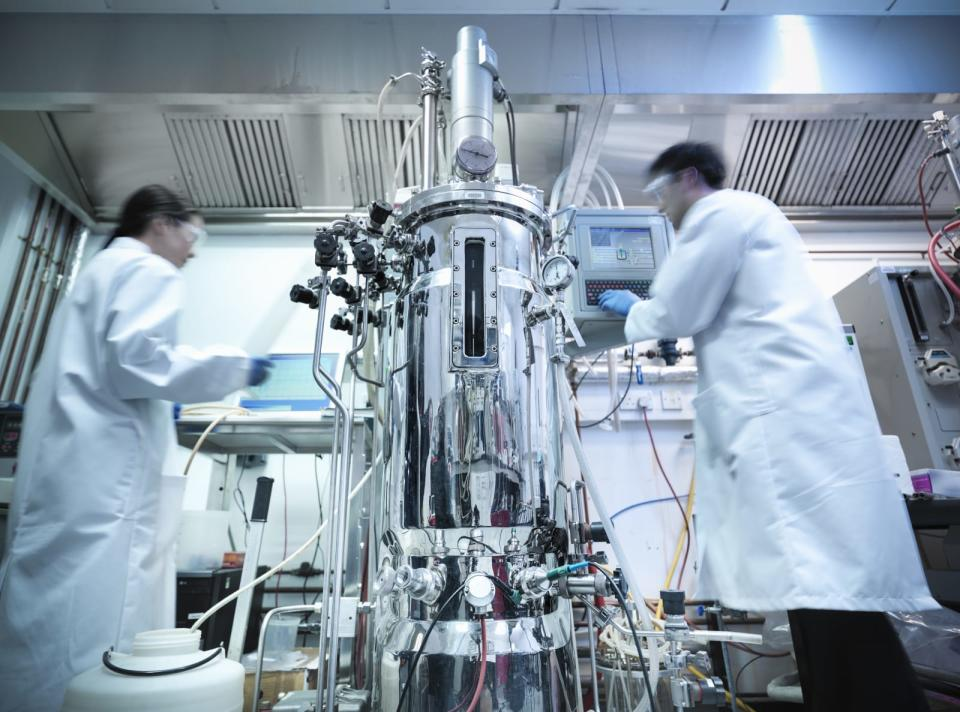 Scientists working in protein production where cells and culture samples are created in a bioreactor