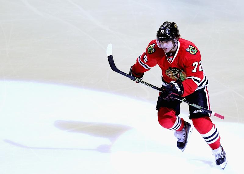 Artemi Panarin of the Chicago Blackhawks skates to the bench after scoring  a goal during a e6da06d4d