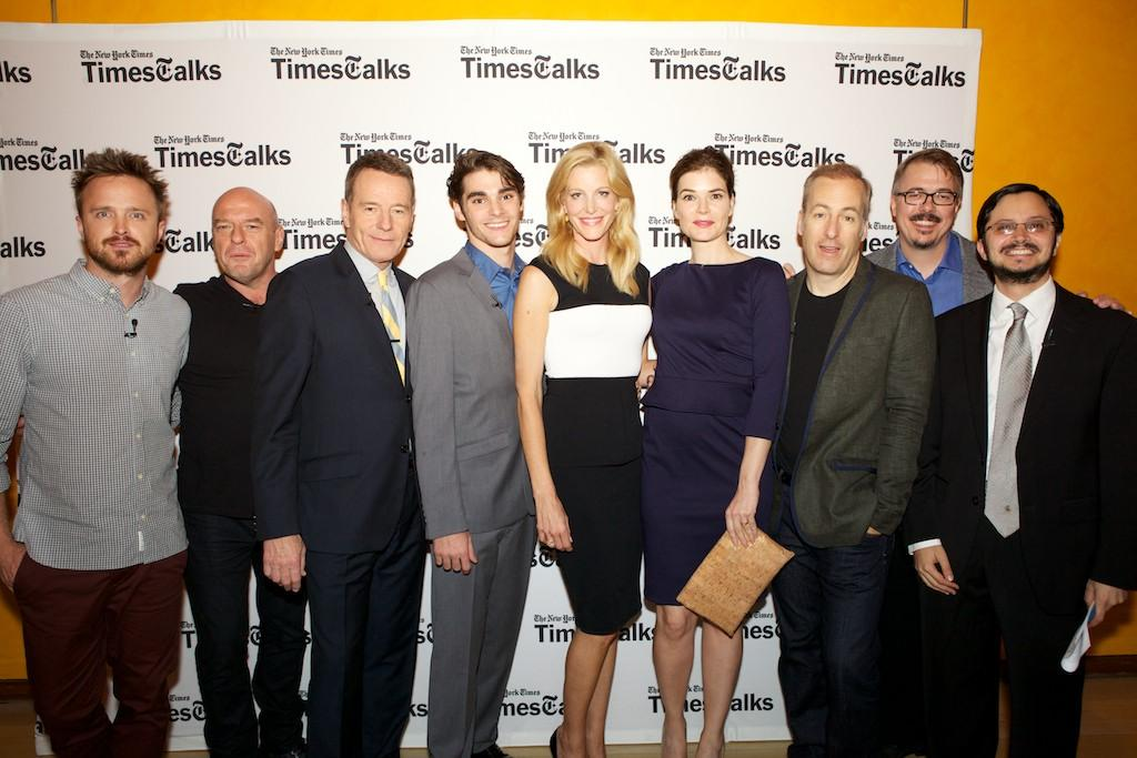 """Aaron Paul, Dean Norris, Bryan Cranston, RJ Mitte, Anna Gunn, Betsy Brandt, Bob Odenkirk, and Vince Gilligan pose with New York Times Culture Reporter, Dave Itzkoff at TimesTalk Presents An Evening With """"Breaking Bad"""" at Times Center on July 30, 2013 in New York City."""
