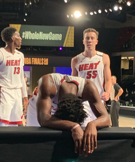 Heat star Jimmy Butler gathers himself after an exhaustin Game 5 effort on Friday night.