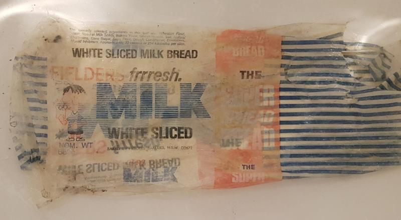 The woman found a wrapper at Irrawong Waterfall, in Sydney's Warriewood, for bread popular in the 1970s and 1980s.