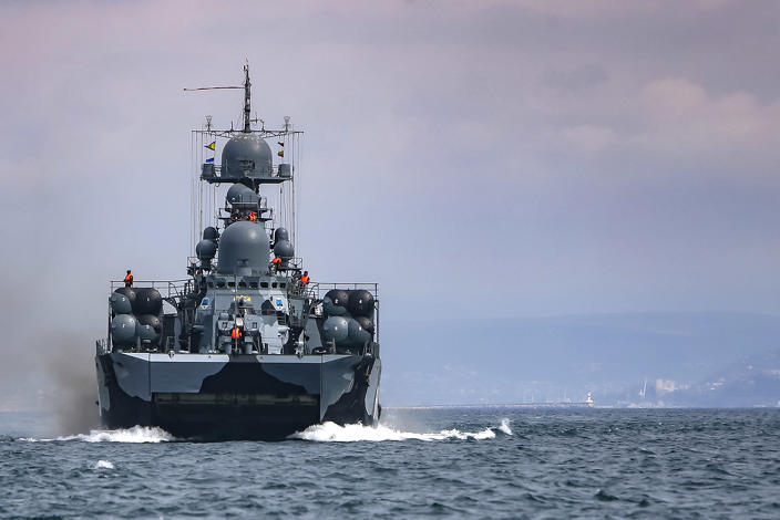 This handout photo released on Wednesday, April 14, 2021 by Russian Defense Ministry Press Service shows, A Russian navy ship is seen during navy drills in the Black Sea. Russia has insisted that it has the right to close areas of the Black Sea for foreign naval ships and rejected Ukrainian and Western criticism of the move. (Russian Defense Ministry Press Service via AP)