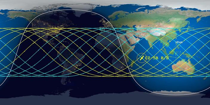 aerospace corporation chart of long march 5b rocket stage reentry