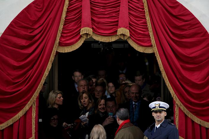 <p>Guests arrive for the inauguration on the West Front of the U.S. Capitol on January 20, 2017 in Washington, DC. In today's inauguration ceremony Donald J. Trump becomes the 45th president of the United States. (Photo: Alex Wong/Getty Images) </p>
