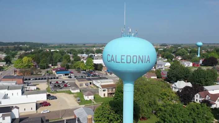 The town of Caledonia, seen in an aerial photo. / Credit: CBS Evening News