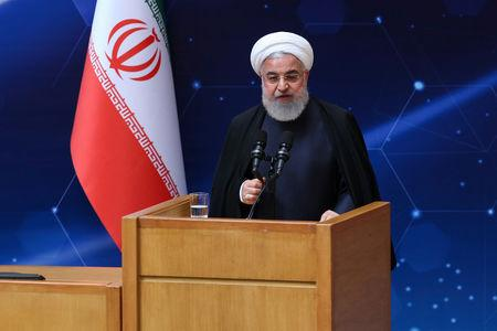 Iranian President Hassan Rouhani speaks during Iran's National Nuclear Day in Tehran