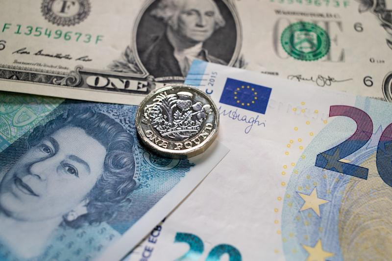 Sterling sinks to 30-month low on dollar jump and Brexit fears