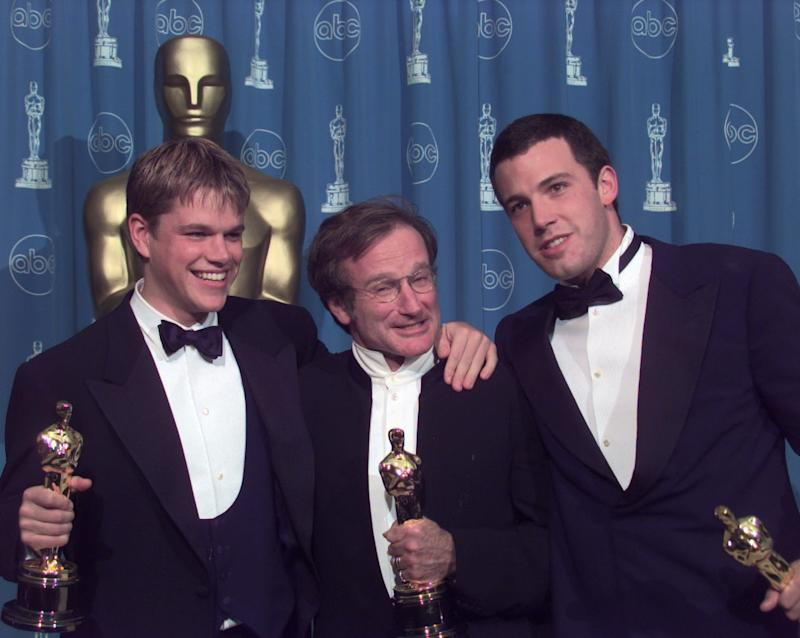"From left, Matt Damon, Robin Williams and Ben Affleck took home Oscars for ""Good Will Hunting"" at the 70th Academy Awards."