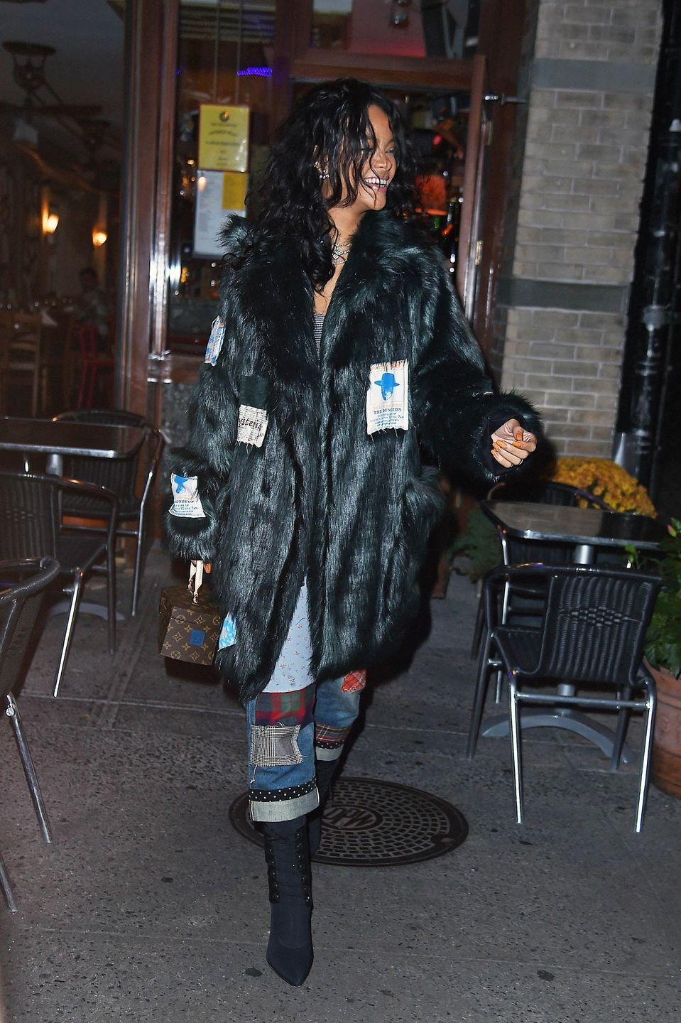 <p>Rihanna casually strutted through NYC in an embellished fur coat and patchwork denim fit for a style icon.<br></p>