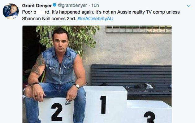 Grant Denyer couldn't resist having a laugh about the fact Shannon lost. Again. Source: Twitter/GrantDenyer