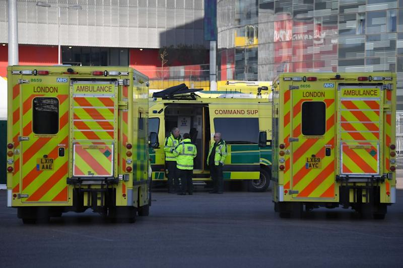 Ambulances outside the ExCel Centre, which is being turned into a 4000 bed temporary hospital for coronavirus patients in London