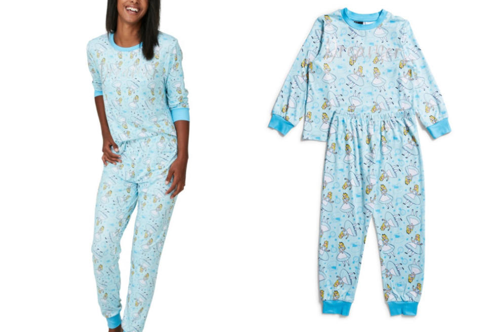Big W's matching Alice in Wonderland pyjamas for women (left, $30) and girls (right, $18)