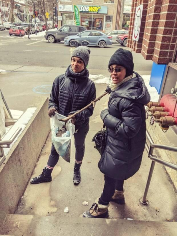 When Elizabeth Barbosa and Alcina Lopes first started picking up masks in their neighborhood, they used a stick they got from a tree.