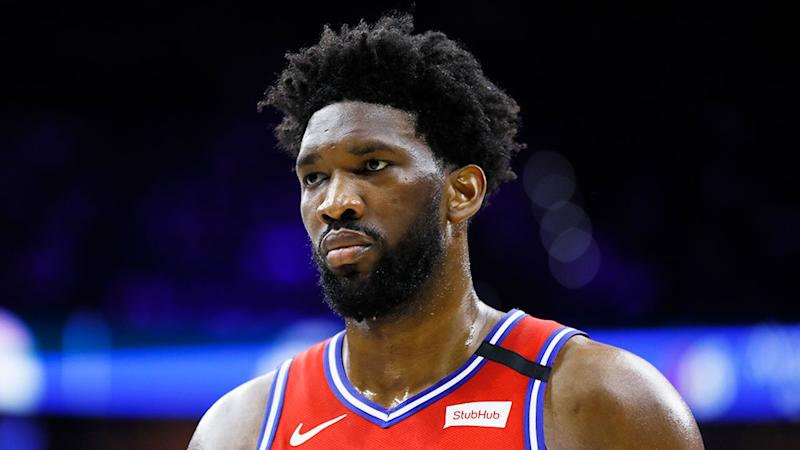 Pictured here, Joel Embiid was criticised after a horrible game against the Celtics.