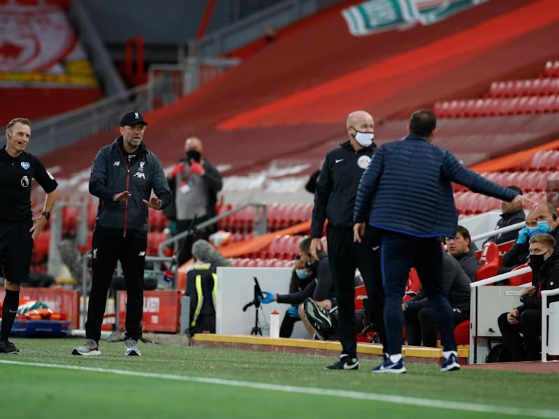 Lampard is told to calm down by Klopp: POOL/AFP