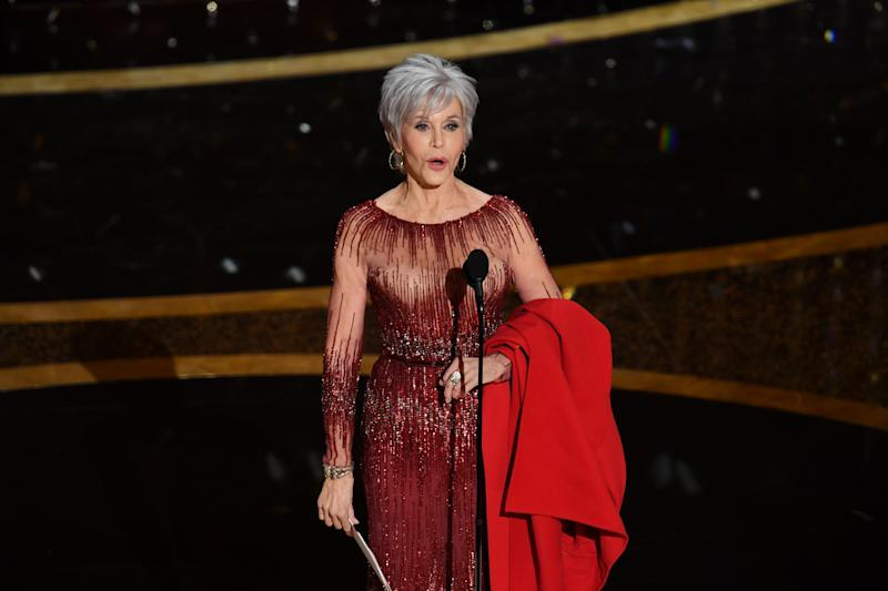 HOLLYWOOD, CALIFORNIA - FEBRUARY 09: Jane Fonda speaks onstage during the 92nd Annual Academy Awards at Dolby Theatre on February 09, 2020 in Hollywood, California. (Photo by Kevin Winter/Getty Images)