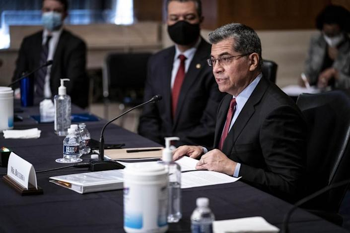 Xavier Becerra speaks during his confirmation hearing to be Secretary of Health and Human Services before the Senate Health, Education, Labor and Pensions Committee, Tuesday, Feb. 23, 2021 on Capitol Hill in Washington. (Sarah Silbiger/Pool via AP)