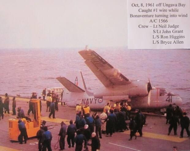 On Oct. 8, 1961, the Tracker Allen was flying in was left dangling over the water after missing five of the six arrester cables on the deck. The final cable that kept the plane from plummeting into the sea can be seen still attached at the lower tail.