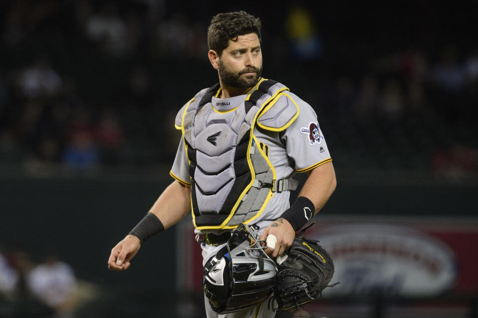 PHOENIX, ARIZONA - MAY 15: Francisco Cervelli #29 of the Pittsburgh Pirates in action during the MLB game against the Arizona Diamondbacks at Chase Field on May 15, 2019 in Phoenix, Arizona. The Diamondbacks won 11-1. (Photo by Jennifer Stewart/Getty Images)