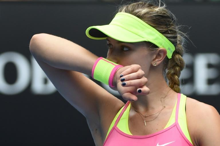 """Canada's Eugenie Bouchard, pictured during a match against Maria Sharapova in January 2015, has branded the Russian a """"cheater"""" over her return from a drugs ban"""