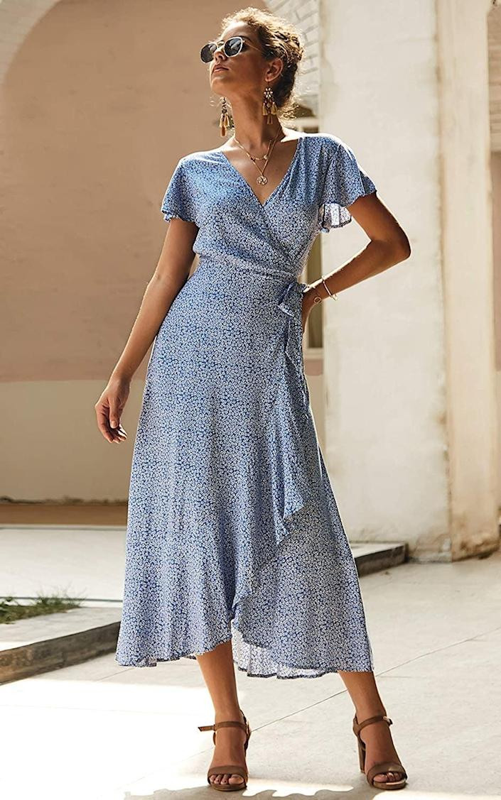 <p>This <span>Ecowish Wrap V Neck Maxi Dress</span> ($27-$31) is both comfy and flattering.</p>