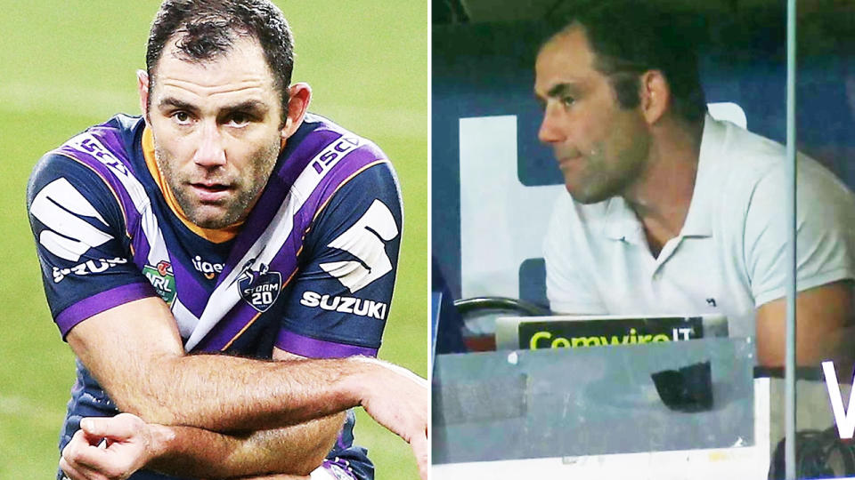 Cameron Smith, pictured here in the Melbourne Storm coach's box at Suncorp Stadium.