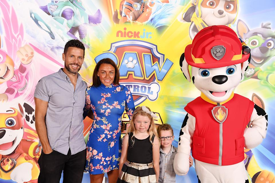 LONDON, ENGLAND - MAY 12: Michelle Heaton, daughter Faith and Hugh Hanley attend the Gala screening of Paw Patrol Mighty Pups at Cineworld Leicester Square on May 12, 2019 in London, England. (Photo by Jeff Spicer/Getty Images for Paramount)