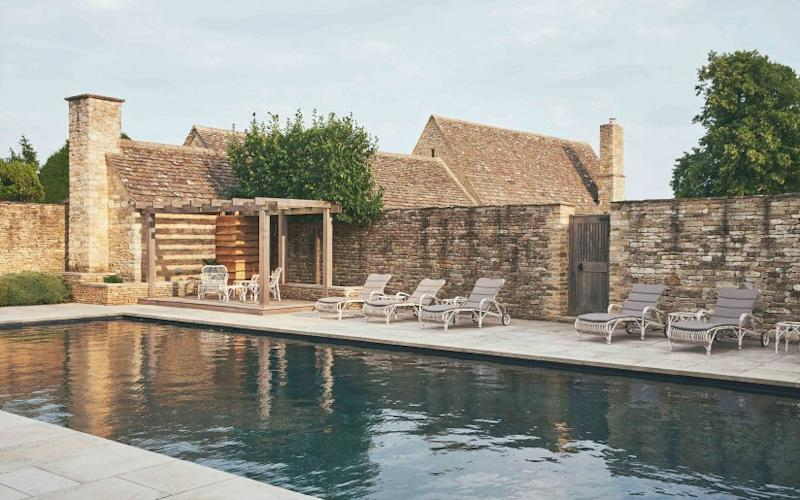 A natural pool at Thyme hotel in the Cotswolds