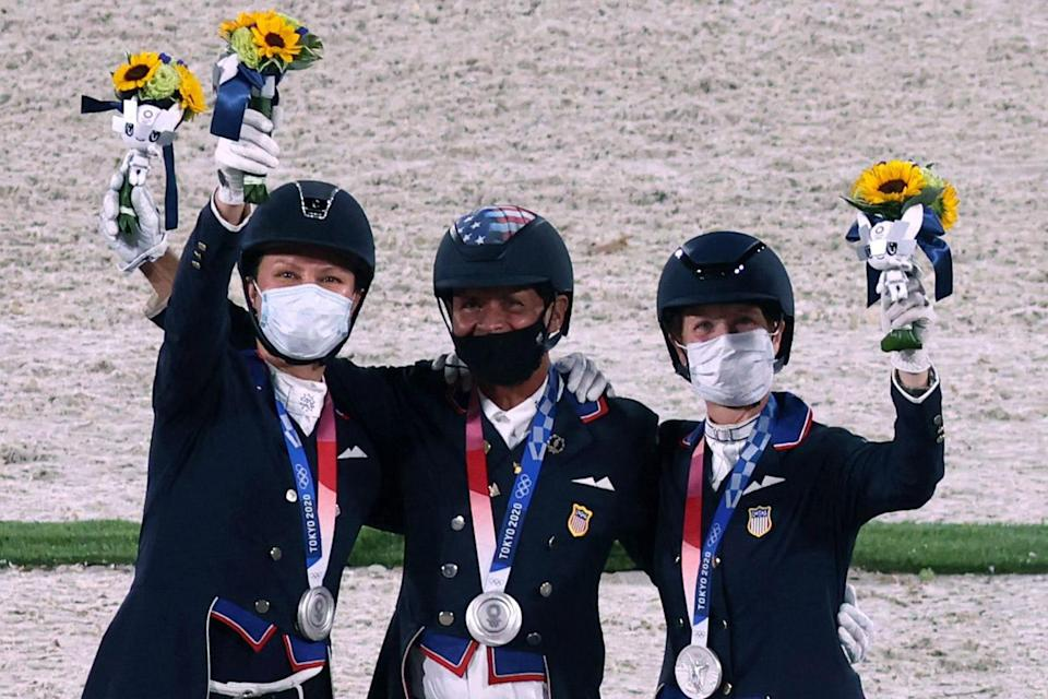 """<p>Biography: Lyle, 36, rode horse Salvino, Peters, 56, rode horse Suppenkasper and Schut-Kery, 52 rode horse Sanceo</p> <p>Event: Dressage Grand Prix Special </p> <p>Quote: Lyle: """"And then this happened ...!""""</p>"""
