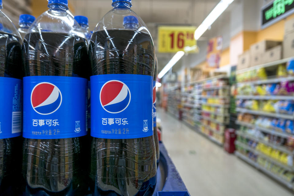 BEIJING, CHINA - 2015/08/11: Pepsi products in a Chinese supermarket.  Coke companies are suffering large decline in consumption of sugary sodas as consumers worry about obesity.  Pepsi declares to replace the sweetener aspartame from the drink, while Coca-Cola is trying to spread the message that sugary sodas have no deleterious effect on health. (Photo by Zhang Peng/LightRocket via Getty Images)