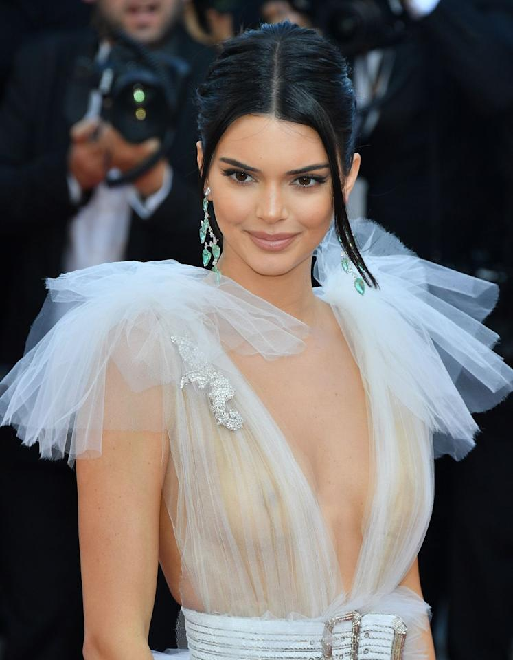 <p>Kendall wore a sheer white Schiaparelli dress to a screening for <em>Girls of the Sun</em> at the Cannes Film Festival in 2018. </p>