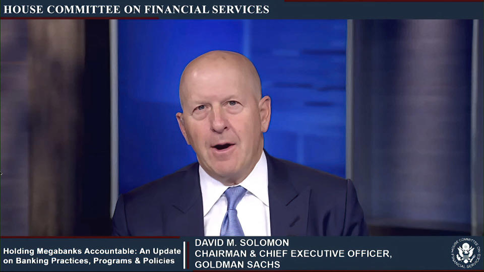 This image from video provided by the House Financial Services Committee shows Goldman Sachs CEO David Solomon testifying virtually to the House Financial Services Committee Thursday, May 27, 2021. (House Financial Services Committee via AP)