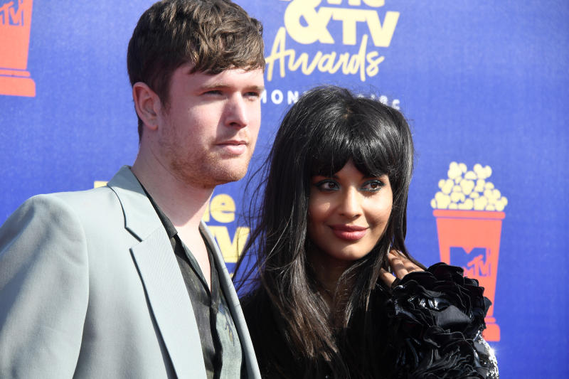 SANTA MONICA, CALIFORNIA - JUNE 15: (L-R) James Blake and Jameela Jamil attend the 2019 MTV Movie and TV Awards at Barker Hangar on June 15, 2019 in Santa Monica, California. (Photo by Frazer Harrison/Getty Images for MTV)