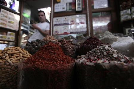 A variety of spices are displayed at a shop at the spices souk in Deira
