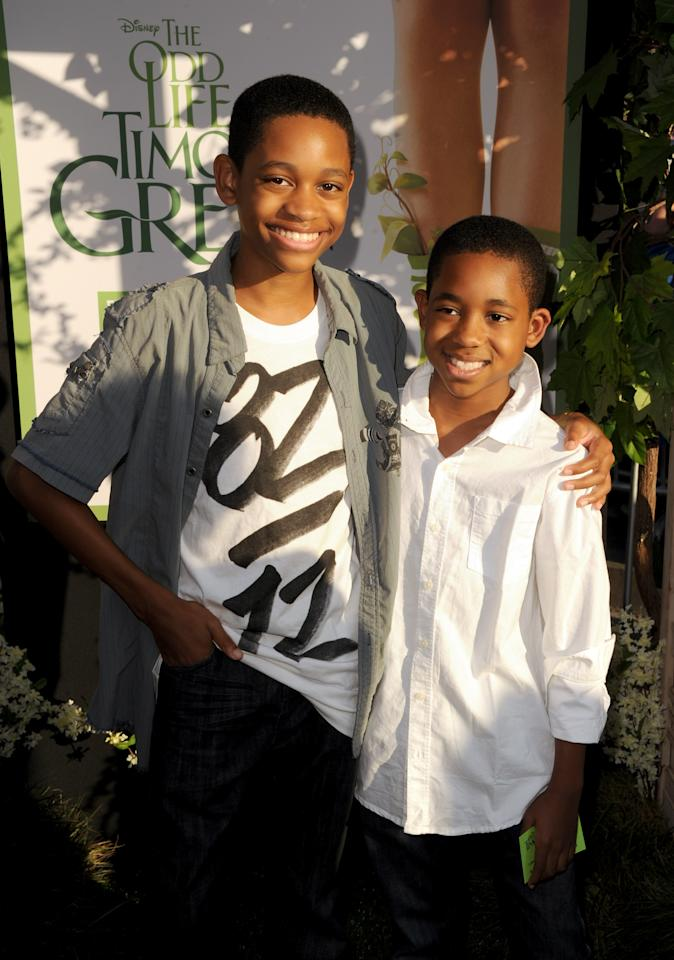 "HOLLYWOOD, CA - AUGUST 06:  Actor Tyrel Jackson Williams (L) and brother Tylen Williams arrive at the premiere of Walt Disney Pictures' ""The Odd Life of Timothy Green"" at the El Capitan Theatre on August 6, 2012 in Hollywood, California.  (Photo by Kevin Winter/Getty Images)"