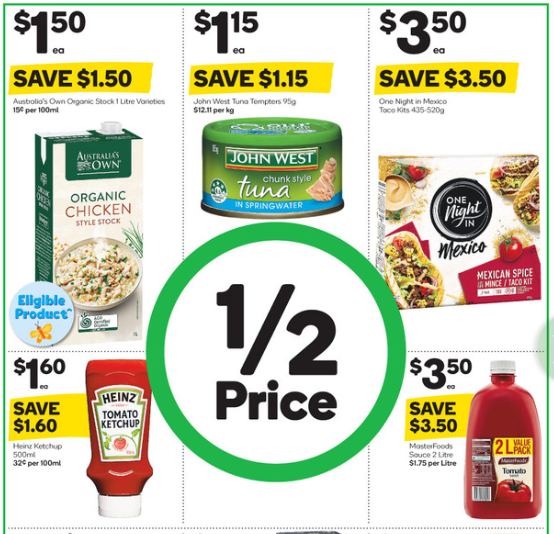 Various food items advertised for half-price at Woolworths.