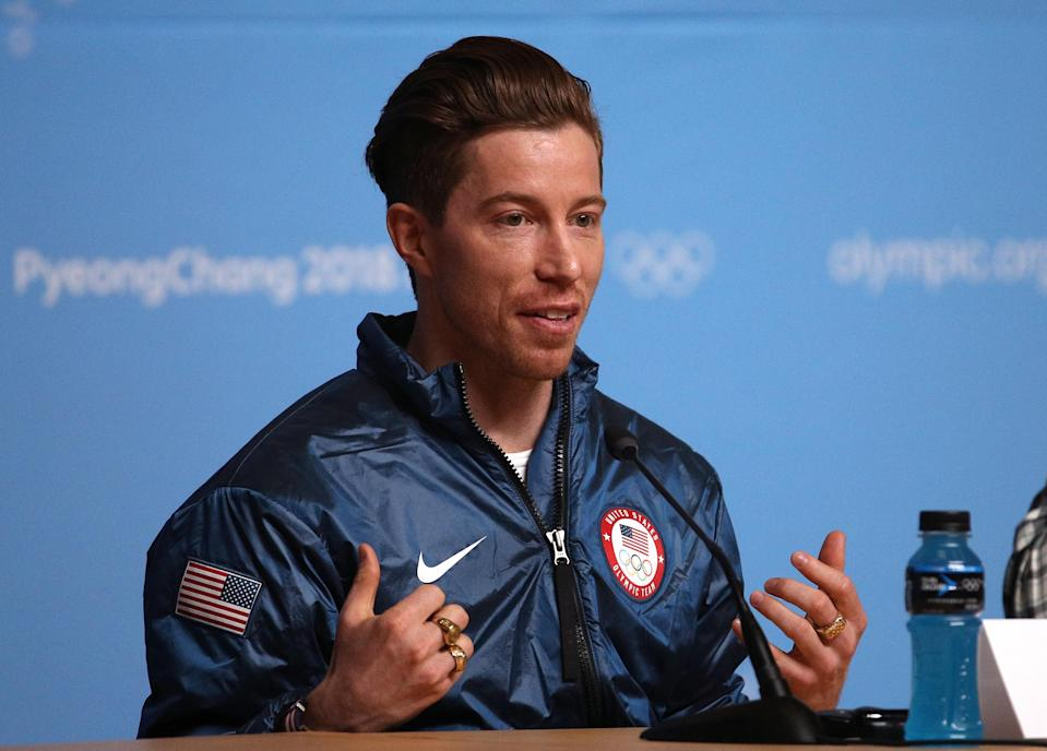 Shaun White speaks during a news conference at the 2018 PyeongChang Olympics. (Getty)
