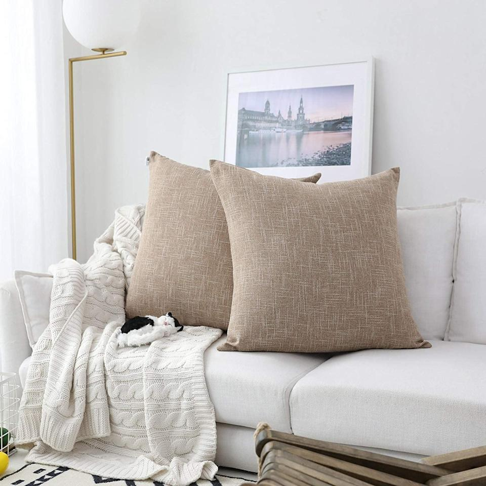<p>The natural linen hues of these <span>Textile Decor Burlap Lined Linen Throw Pillow Cases</span> ($21) make them both rustic and modern all-in-one. They come in 13 other colors, too.</p>