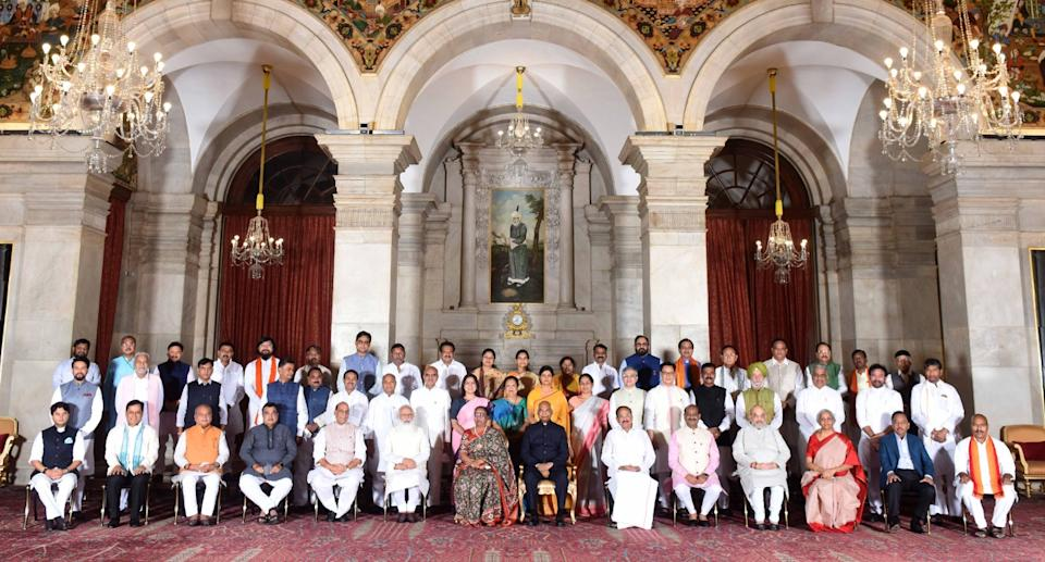 President Ram Nath Kovind, Vice President M Venkaiah Naidu, Prime Minister Narendra Modi and other members of Council of Ministers at the swearing-in ceremony at Rashtrapati Bhavan in New Delhi on July 7, 2021. Photo: PIB