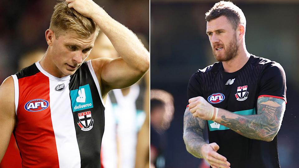Pictured here, St Kilda players Seb Ross and Tim Membrey.
