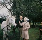 <p>Queen Elizabeth and Prince Philip visited a farm near the royal residence at Balmoral. The couple was enjoying a holiday together at their Scottish estate to celebrate their 25th wedding anniversary in 1972. </p>