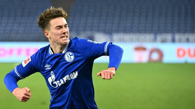 US teenager Matthew Hoppe celebrates his hat-trick for Schalke on Saturday