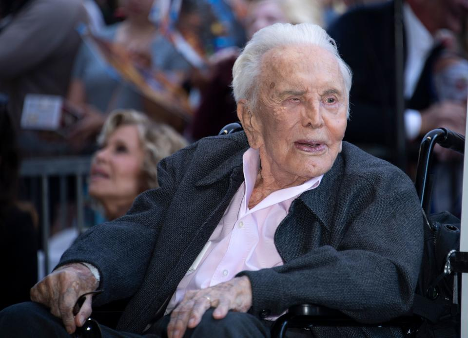 Actor Kirk Douglas attends the ceremony honoring his son actor Michael Douglas with a Star on Hollywood Walk of Fame, in Hollywood, California on November 6, 2018. (Photo by VALERIE MACON / AFP)        (Photo credit should read VALERIE MACON/AFP via Getty Images)